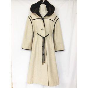 Vtg 60s Youthcraft Coat S/M Tan +Velvet Lined Hood